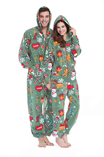 XMASCOMING Women's & Men's Hooded Fleece Onesie Pajamas Merry Xmas Size US L