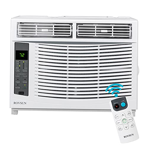 ROVSUN 6000 BTU Window Air Conditioner, Energy Saving AC Unit with Remote Control & Timer Function, Ideal for Rooms up to 250 Square Feet, 115V/60Hz, White
