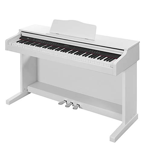 Buy Discount HomeSailing Beginner 88 Key Digital Piano White with Folding Flip Cover, 3 Pedal Board ...