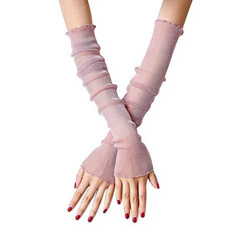 BOLAWOO Damen Handschuhe Spitze Armstulpen Einfarbig Eis Seide Falsche Outdoor Mode Marken Fäustlinge Fingerlos (Color : Lila, Size : One Size)