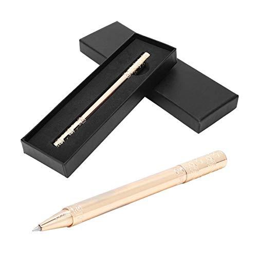 Pluma de gel de garrote dorado retro con patrón de nubes auspicioso, bolígrafo de rodillo de latón, bolígrafo de gel de metal para escribir(Imitación de oro)
