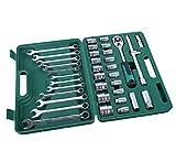 HYCy Herramienta de reparación automática de 37 Piezas de la Funda del Coche Herramienta de reparación automática Juego de Llave de trinquete de Ciruela Set Kit Kit de reparación con Caja