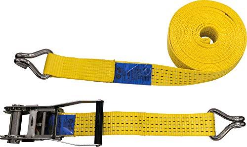 PETEX 43192919 Ratschenspanngurt 2-Teilig, 10 M, 50 mm, 2500/5000 Dan, Doppelspitzhaken, Ratsche 23 cm, Gelb