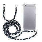 MyGadget Funda Transparente con Cordón para Apple iPhone 6 / 6s - Carcasa Cuerda y Esquinas Reforzadas en Silicona TPU - Case y Correa - Negro Camuflaje