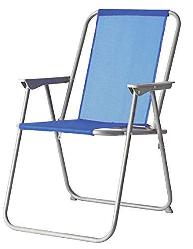 Silla Plegable para Playa y Piscina 47x54x75 cm. Hierro 1 Posición (Azul)