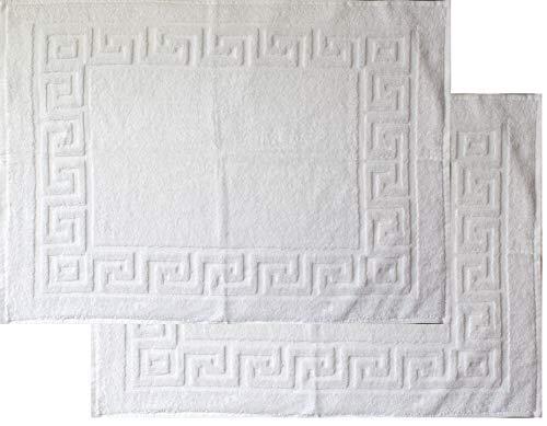 2 pcs alfombrilla de ducha, alfombra de baño, tejido de rizo, toallas, 50 x 70 cm, lavable, Universal blanco, alfombra de baño