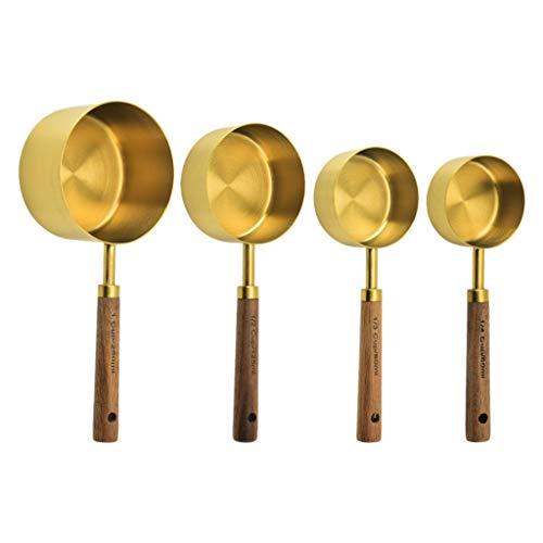 unkonw 4/8 piezas de acero inoxidable cucharas de medición tazas mango de madera hogar cocina comedor bar hornear pastel azúcar herramientas conjunto