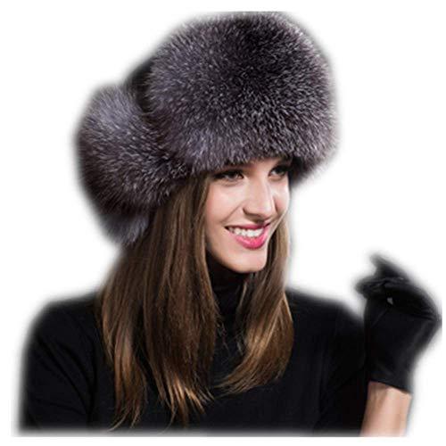MH Bailment Womens Winter Hat Genuine Fox Fur Russian Hats Lei Feng hat (One Size, Silver Blue)
