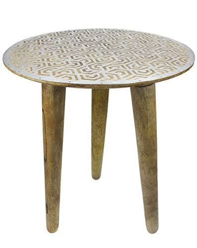 Saharashop Indischer Tisch aus Holz Nr. 3, Beistelltisch Couchtisch aus Holz massiv Oriental 38 cm | Modern Tisch aus Massivholz Natur/Silber für Ihr Wohnzimmer