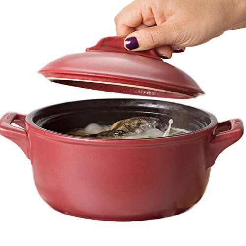 Lsqdwy Plato de cazuela Olla de Sopa de Alta Temperatura para el hogar Cazuela de cerámica refractaria Cazuela de Piedra Restaurante (Tamaño: 2000ML)