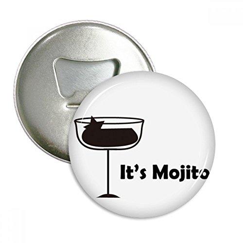 Mojito met zijn Cup ronde fles opener koelkast magneet pinnen badge knop Gift 3 stks