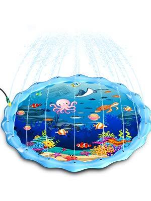 Gifort Tappetino Gioco d'Acqua per Bambini 68in/172cm, Splash Play Mat Gioco di Spruzzi d'Acqua Tappetino Gonfiabile, Giochi d'Acqua Estivi all'Aperto Portatile (Mondo del Mare)