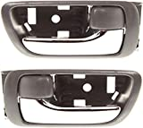 Interior Door Handle Compatible with 2002-2006 Toyota Camry Gray bezel with chrome lever With door lock button Set of 2