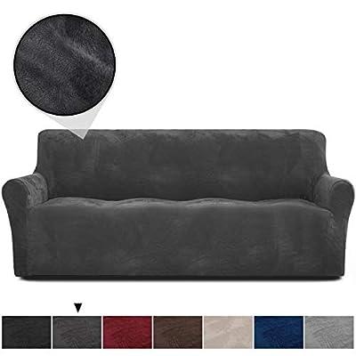 Rose Home Fashion RHF Velvet-Sofa Slipcover,Stretch Sofa Cover, Slipcover for Leather Couch-Polyester Spandex Sofa Slipcover&Couch Cover for Dogs, 1-Piece Sofa Protector(Dark Gray-Extra Wide Sofa)