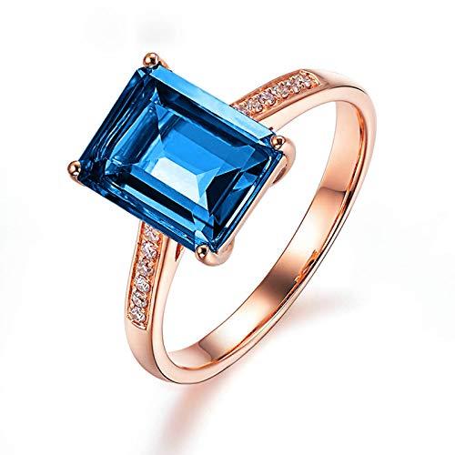 Kihomedy Anillos de joyería para mujer, cristal azul, chapado en oro de 18 quilates, anillo de ingestión, aniversario de boda