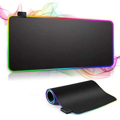 RGB Gaming Mauspad XXL, solawill LED Mousepad mit 7 Farben 14 Beleuchtungs Modi Computertastatur Mouse Pad Wasserdichter Rutschfester Gummibasis Groß Maus Pad für Professionelle Gamer,800 x 300 x 4mm
