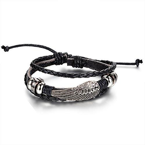 JewelryWe Schmuck Engel Flügel Beads Ringe Legierung Leder Armband, Geflochten Herren Damen Lederarmband Armreif, 19,5cm-25,5cm Verstellbare Größe, Schwarz Silber, mit Geschenk Tüte
