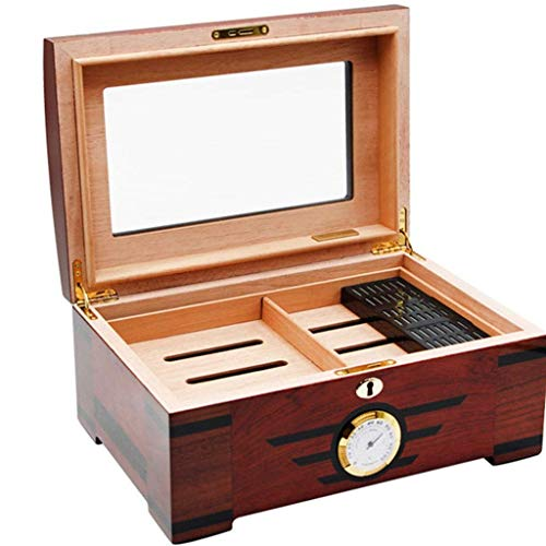 Zigarrenhumidor Zigarrenkiste-Zedernfutter Zigarrenetui Reise Humidor/Cutter Feuerzeug Set mit Luftbefeuchter und Zedernholz Tablett destilliertes Wasser