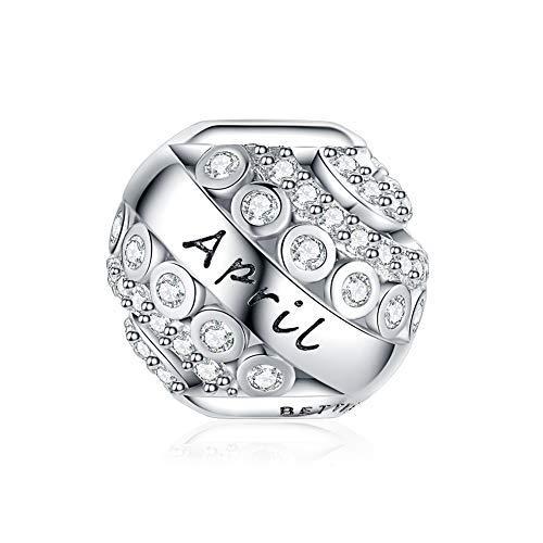 Abalorio de piedra natal para pulseras Pandora de plata de ley 925, regalo para mujeres