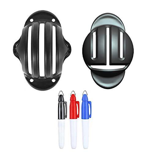 2個 ゴルフ マーカー 持ち運び便利 パッティング練習器 ボールラインマーカー 簡単に線が引ける 図形描画 テンプレートのリニアパット位置を決め ボールマークアライメントがクリップツール (2個ブラック)