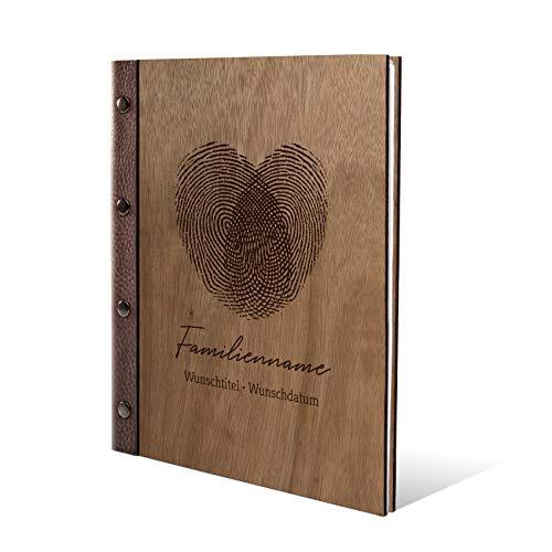 Stammbuch Okoume Holz Gravur individuell Holzcover mit Echtleder Rücken und Extras Stammbuchformat hoch 175 x 220 mm - Fingerabdrücke