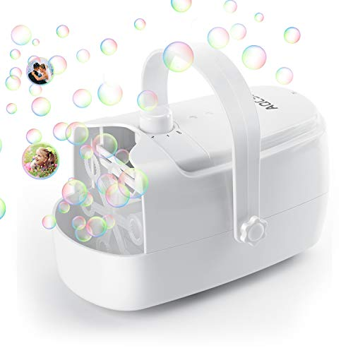 AQCSS Bubble Machine, Automatic Bubble Maker for Kids,Adjustable Speed High Power Bubble Blower Machine Plug in or Batteries Bubble Toys and Gifts for Kids Parties