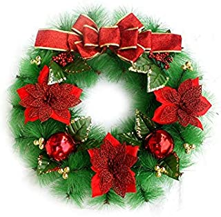 Christmas Party Flower Christmas Wreath Door Hanging Ornaments Room Christmas Tree Pendants for Decoration(Red)