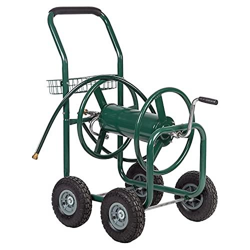 Hose Reel cart Garden Hose Reel cart with Wheels Heavy Duty 300 feet of Water Pipe Suitable for Gardens, lawns, Sidewalks and backyards.Outdoor Water Hose Reel cart Green
