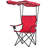 HOMCOM Chaise de Camping Pliable Grand Confort Pare-Soleil + Porte-gobelets intégrés, possibilité d'être portée en Sac à Dos Rouge Noir