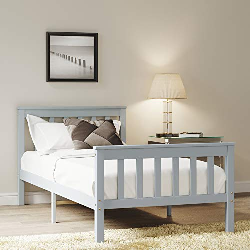Panana Single Bed Solid Wood Bed Frame 3ft Grey Wooden For Adults, Kids, Teenagers (Grey)
