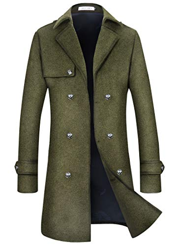Mens Wool Trench Coat Winter Blend Top Pea Coat Long Double Breasted Classic Stylish Business Overcoat (1962) - Green Breasted S