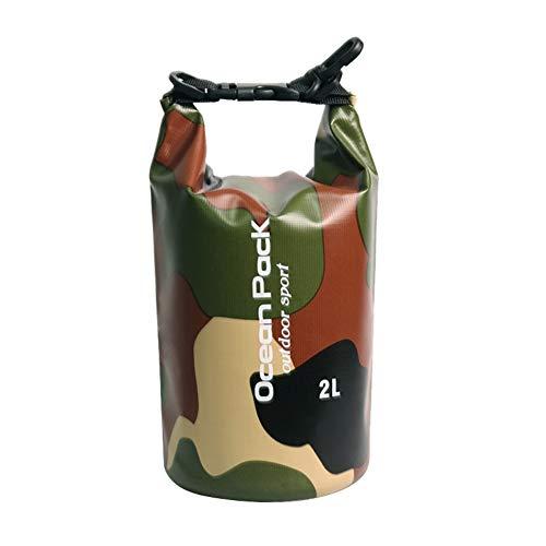 Sawpy Bolsa Seca Impermeable Camuflaje Resistente al Agua Bolsa Enrollable de compresión Bolsa de Almacenamiento de contenedores de Agua para Pesca para Kayak Canotaje Camping Rafting