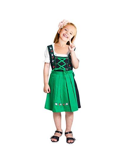 Kinder-Dirndl 3 teilig Dik07 Gr. 128, Trachten-Kleid grün-schwarz Dirndel-Bluse -Schürze für Oktober-Fest