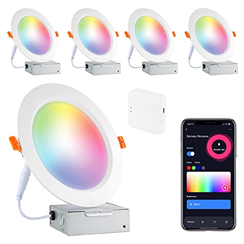 Smart Led Recessed Lighting 6 Inch, LED WiFi Recessed Lighting 16W 1100LM Smart Downlight with Junction Box Compatible with Alexa,Google Assistant and Siri (6 Inch-4PACK)