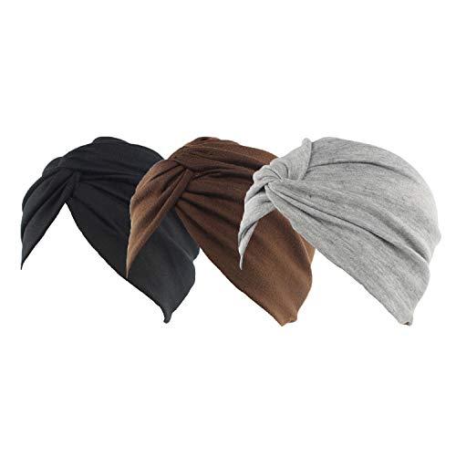 Ever Fairy 3 gorros de algodón para quimioterapia con cáncer, elásticos, turbante para dormir, para la pérdida de cabello Stil A (schwarz + dunkler Kaffee + grau) Talla única