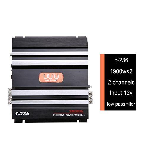 YaeCCC C-236 12V 2 Channel Powerful Car Audio Amplifier Bass AMP Aluminum
