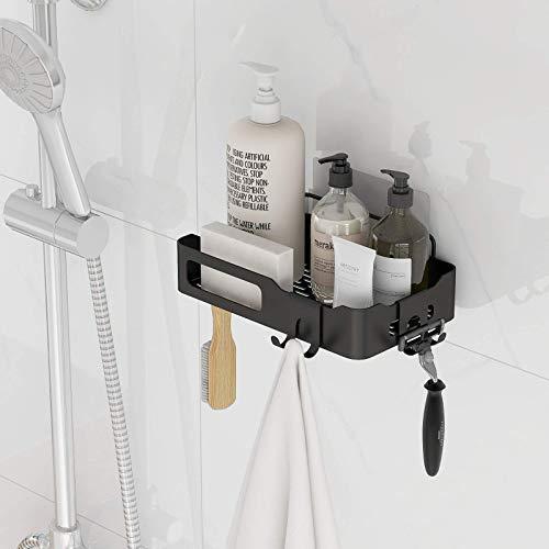 Shower Caddy Basket Shelf with Hooks for Hanging Sponge and RazorShampoo Holder OrganizerNo Drilling Adhesive Wall Mounted Bathroom ShelfRustproof Stainless Steel Storage Rack for ToiletShampooDorm and Kitchen