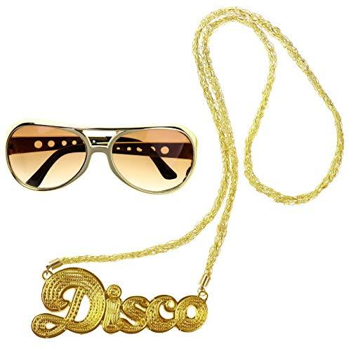 iEFiEL Mujer Hombre Accesorios Disfraz Fiesta Hippie Gafas de Sol de Estilo Punk Vintage de Moda+Collar Rock Collar Disco Estilo Retro de los años 60 Gafas Hippie de Sol Dorado One Size
