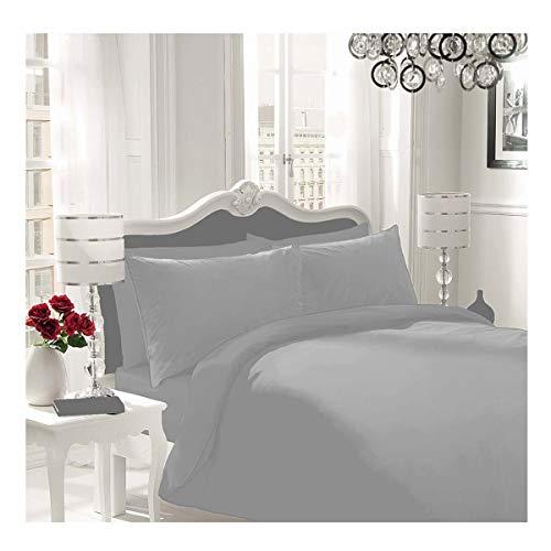 WOT NON IRON Parcale Plain Dyed Duvet Cover & 2 Pillow Cases Bed Set (Silver, Double)