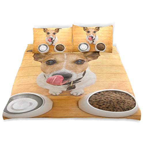 SUNOP Flannel Complete Bedding Set Double Bed 100% Brushed Cotton Flannelette Quilt Duvet Cover and 2 Pillowcase Bedding Bed Set,Hungry Jack Russell Dog Behind Food Bowl And Licki