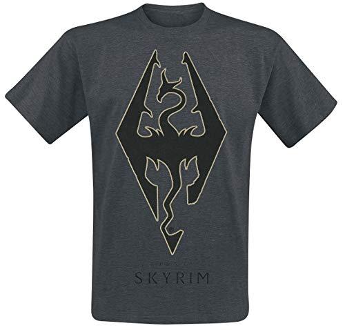 Elder Scrolls The V - Skyrim - Emblem Männer T-Shirt dunkelgrau meliert M