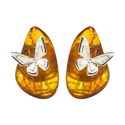 Plata 925 Pendientes Mujer, Clips De Orejas De Mariposa Vintage De Ámbar Báltico Temperamento Clásico Gancho De Oreja Étnico Para Amante, Pendientes De Oreja Femeninos De Estilo Chino Accesorio D
