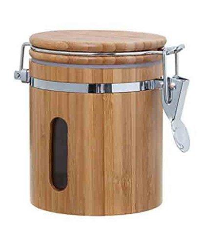 GMMH Bambus Vorratsdose aromadicht Bügelverschluss Holz Vorratsbehälter Frischhaltedose Aufbewahrung Kaffeedose (Höhe : 15 cm)