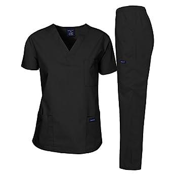 Dagacci Medical Uniform Woman and Man Scrub Set Unisex Medical Scrub Top and Pant Black L
