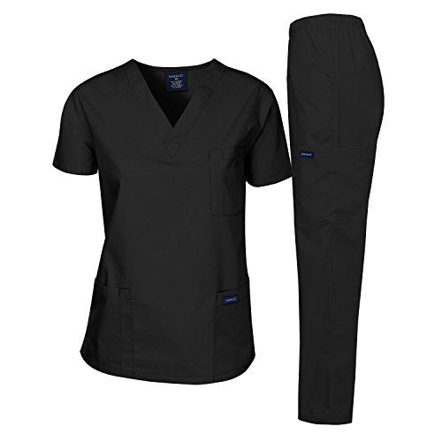 Dagacci Medical Uniform Woman and Man Scrub Set Unisex Medical Scrub Top and Pant, Black, S