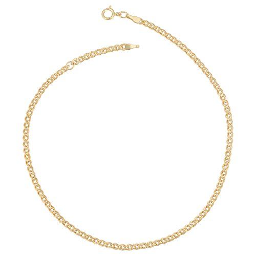Kooljewelry 10k Yellow Gold 2.3 mm Link Chain Anklet (adjusts to 9 or 10 inch)