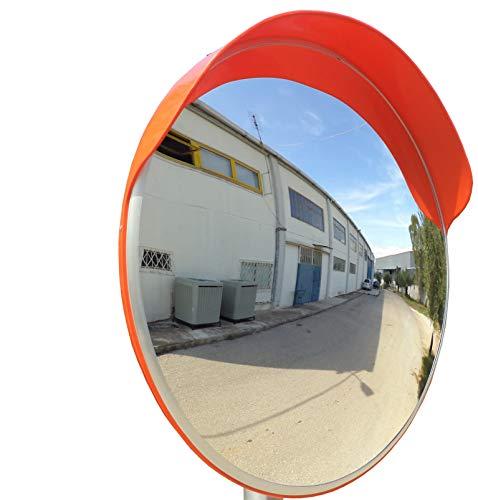 SNS SAFETY LTD Espejo Convexo de Seguridad para el Tráfico y Aparcamientos, Elimina las Esquinas Ciegas, para Carreteras, Almacenes, Garajes, Oficinas y Tiendas (Diámetro 80 cm, Soporte de Pared)