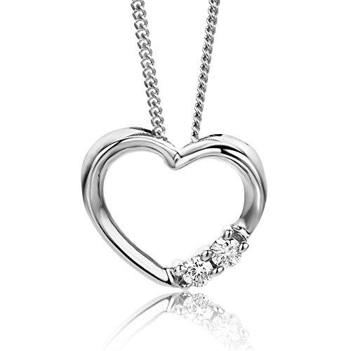 Orovi Halskette für Damen mit Diamant Weißgold 9 Karat (375) Brillianten 0.051crt, mit Herz Anhänger Goldkette