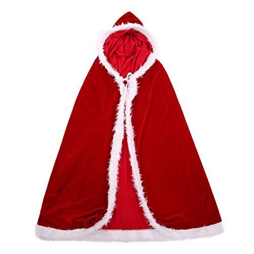 LETSQK Women's Mrs Santa Claus Velvet Cape Cloak Christmas Dress up Costume Red