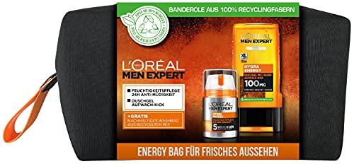 L'Oréal Men Expert Geschenkset für Männer, Mit Duschgel und 24h Feuchtigkeitspflege, Mit Taurin, Minze sowie Vitamin C, Inklusive Kulturbeutel, Hydra Energy Pflegeset, 1 x 350 ml
